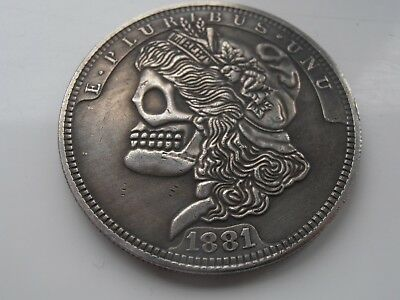 1881-1924 Rare USA Hobo Dollars Skeleton Lady Silver Plated Art Coins