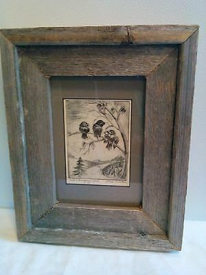 Framed Matted COLD & HUNGRY Dated Black and White Signed Sketch Art Print-