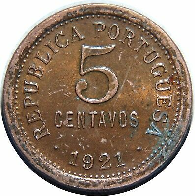 Portugal 5 Centavos 1921 Km# 569 Bronze Lacquered G80
