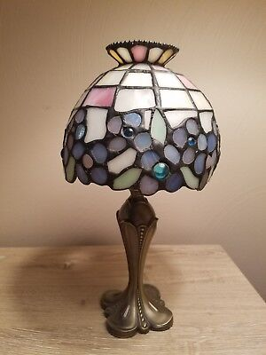 Partylite Hydrangea Tiffany Style Stained Glass Shade Brass Tealight Candle Lamp