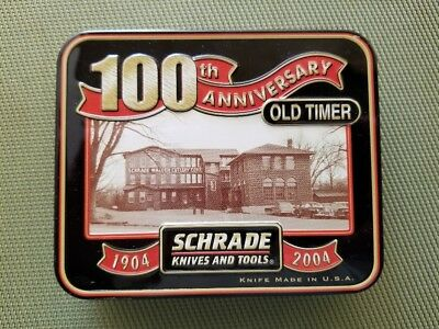 SCHRADE USA 100th ANNIVERSARY 340T OLD TIMER 3 BLADE STOCKMAN KNIFE IN TIN