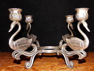 Beautiful 4 Swans Candleabra Candle Stand Centerpiece Silverplate