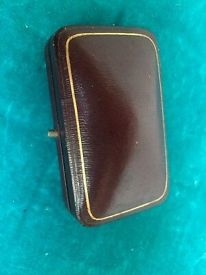 Antique Vintage Cufflink Jewellery Display Gift Box Case Red Maroon Leather Stud