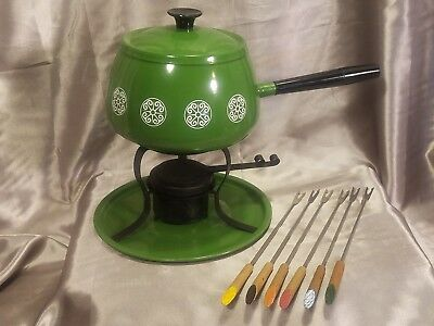 Vintage Avocado Fondue Set with Fondue Forks New Old Stock Perfect Retro Party!