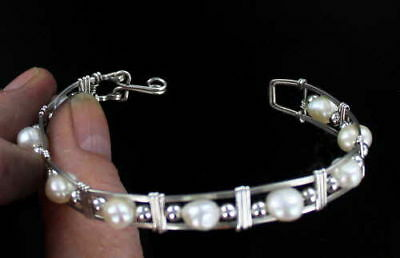 Pearl Gemstone Bracelet Sterling Silver  Size 5 To 9 Wire Wrapped