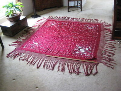 "Vtg Antique Chinese Burgundy Embroidered Roses Silk Piano Shawl 66""+ 14"" Fringe"