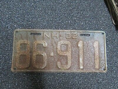 1932 New Hampshire NH License Plate 86-911