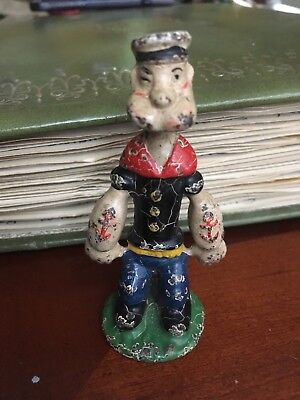 Vintage 1930s cast iron POPEYE paperweight figure figurine