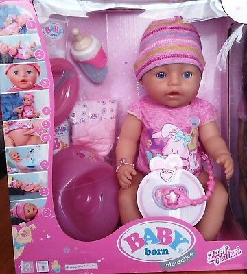 NEW&SEALED Zapf Baby Born Interactive Newborn Baby Girl Doll with Accessories