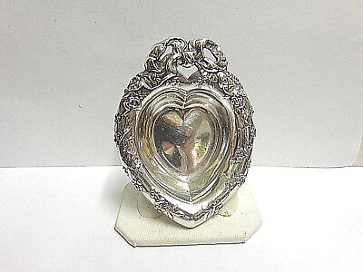 Sterling silver nut dish heart shaped with bow at top Reed-Barton 4 in sz wgt 23