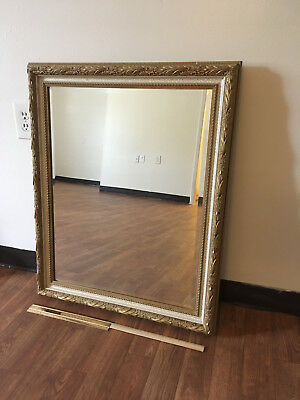 """26"""" x 32"""" Vintage Style Mirror with gold and crackled paint wood frame"""