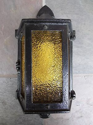 Antique Cast Iron Sconce Stained Glass