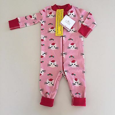HANNA ANDERSSON Cute Baby GIRL Holiday CAT Pajama, 60 cm  3-6 months New! UNIQUE