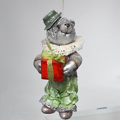 Handmade artist bear with a present, Christmas ornament, primed textile, 5in.