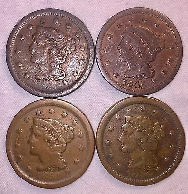 4 United States Large Cents 1845-55 (Upright 55) Free Shipping & No Reserve !!
