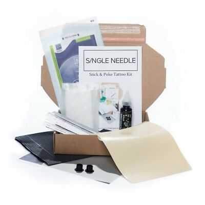 Single Needle - Hand Poke PRACTICE Tattoo DIY Kit (Optional Extra Ink) - SINGLE