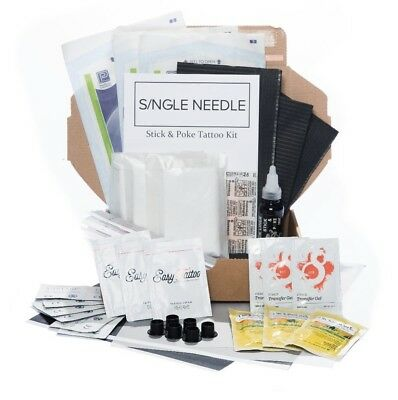 Single Needle -  Hand Poke TRIPLE Tattoo DIY Kit (Optional Extra Ink) *UK Seller