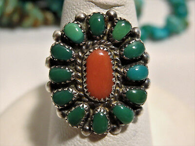 RARE Old ZUNI Marie Baselenti VARISCITE & CORAL Cluster STERLING Silver RING 5.5