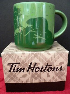 NEW Tim Hortons Limited Ed HOLIDAY Coffee Mug - Beaver / Green - Gift Box 2017