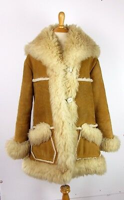 Vtg Overland Sheepskin Co Taos NM Shearling Coat Jacket M/L Chestnut Leather EUC