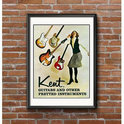 Kent Guitars Promotional Poster - Early 1960's Guitar-Other Fretted Instruments
