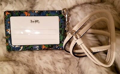 Coach F57990 Lanyard ID Case Card Holder In Rose Meadow Floral Print Blue Multi