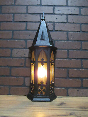 "Vintage Antique Porch Light Large Gothic Arts & Crafts Cast Iron 23.5"" Tall"