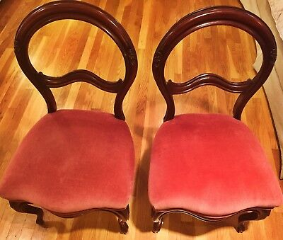 Pair of carved Victorian Chairs, Side by Side chairs