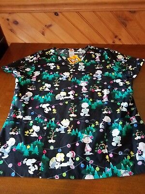 Christmas Charlie Brown scrub top - Women LARGE  PEANUTS  NWT
