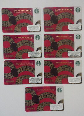 Lot of 7 Starbucks 2013 Chinese New Year Of The Snake Gift Card~ $0 Value