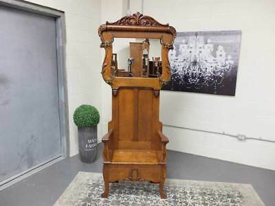 Circa 1900 Antique Carved Victorian Quarter Sawn Oak Hall Stand