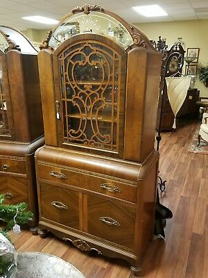 Art Deco Antique China Cabinet/hutch,,,,waterfall,,,LOCAL PICKUP ONLY