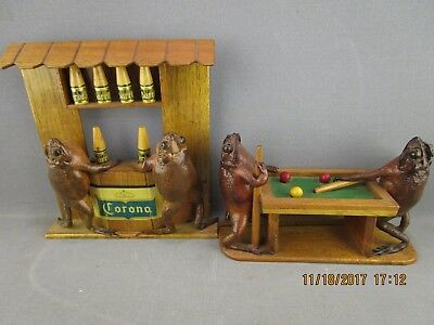 Vintage Corona Beer Frogs Playing Pool Barroom Scene Taxidermy Figurines Genuine