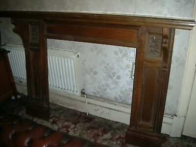 Large original Victorian Edwardian fireplace carved oak fire surround fireplace