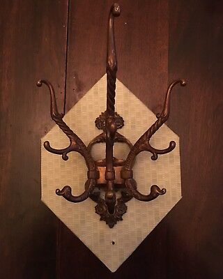 Solid Brass Bronze Antique Victorian Ornate Wall Hook Hat Hall Tree Coat Rack