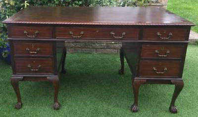 Chippendale Revival Mahogany seven drawer Kneehole Desk