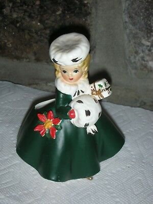 NR Vintage Napcoware Christmas Shopper Girl Planter with Muff Mid Century Japan