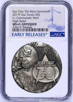 2017 STAR TREK The Next Generation COMMANDER WORF 2oz $2 SILVER COIN NGC MS69 ER