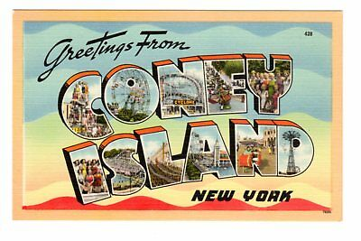 Greetings from coney island ny large letter linen postcard 999 greetings from coney island ny large letter linen postcard m4hsunfo