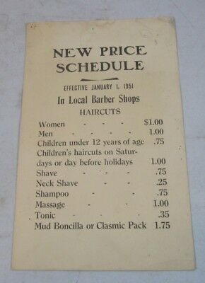 Original 1951 New Price Schedule Barber Shop Haircut Card Sign $1 Haircuts