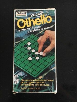 Vintage Pocket Othello Travel Board Game 1977 Flip Open Game Complete with Box