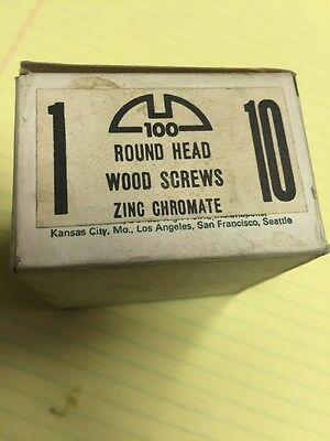Vintage REED & PRINCE #10 X 1 Inch Round Head SLOTTED Wood Screws 100 PER box