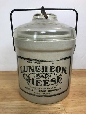 RARE VINTAGE ANTIQUE STONEWARE  GLASS TOP CONTAINER LUNCHEON BAR CHEESE New York