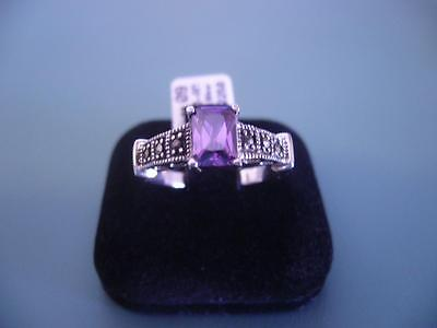 Created Amethyst & Marcasite Gemstone Ring In Sterling Silver Size 9 R.5 - 4G
