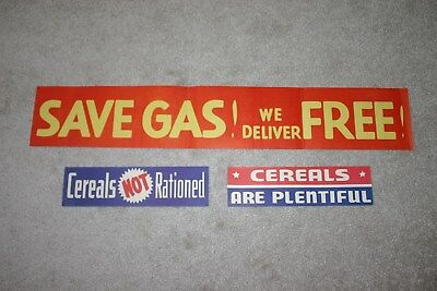 Vintage 1940S Ww2 Era Lot 3 Grocery Advertising Store Window Display Signs, Gas