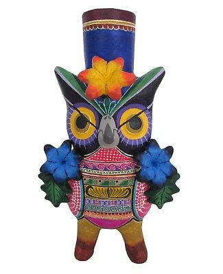 Day of the Dead Owl Ceramic Candleholder