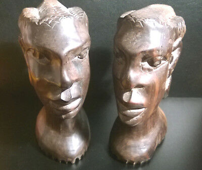 Tribal African Carved Wood Female Heads Folk Art