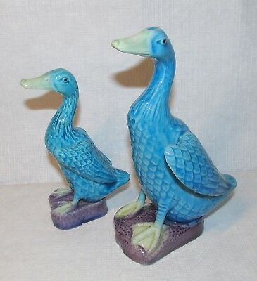Pair of 2 Chinese Dynasty Export Red Stamp Porcelain Turquoise Duck Figurine Lot