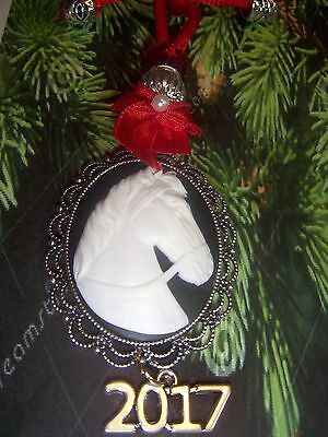 """Horse Cameo  Christmas Ornament, W/""""2017"""" Charm, Red Silk Rope, Bow, Euro Beads"""