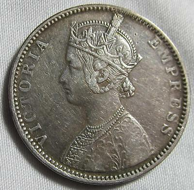 India-British 1892 Silver Rupee Queen Victoria